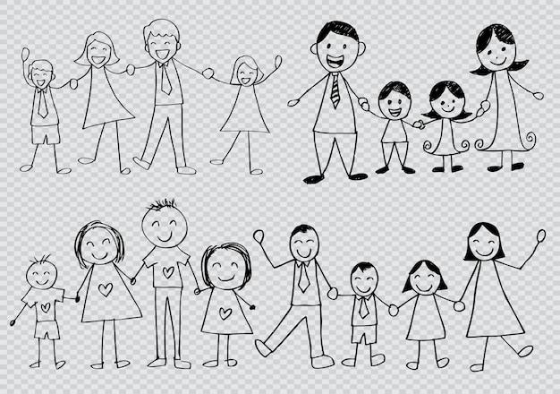 Set di caratteri di contorno famiglia felice Vettore Premium