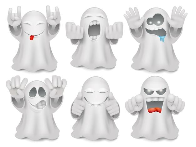 Set di caratteri di emoticon fantasma simpatico cartone animato. Vettore Premium