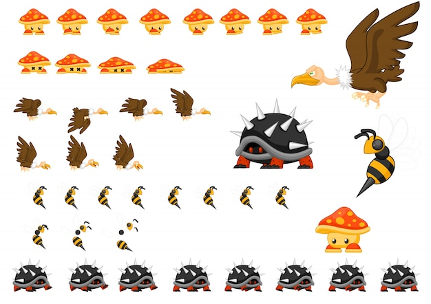 Set di caratteri di gioco di animali Vettore Premium