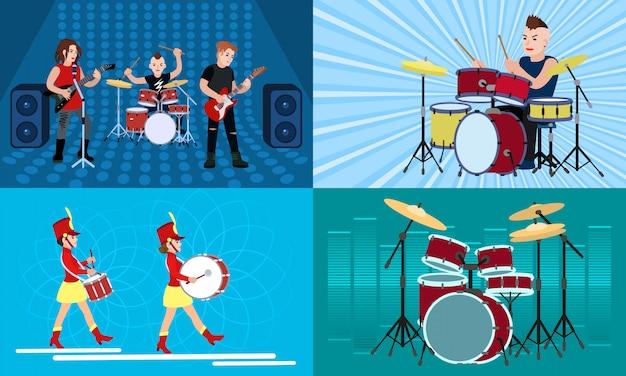 Set di caratteri di illustrazione batterista Vettore Premium