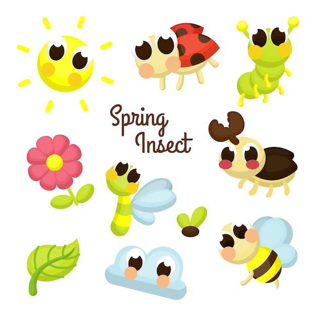 Set di caratteri di illustrazione dell'insetto di primavera Vettore Premium