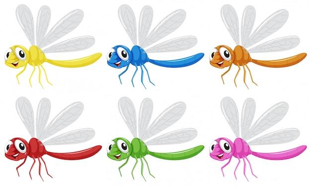 Set di caratteri di libellula Vettore gratuito