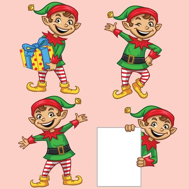 Set di caratteri di natale degli elfi Vettore Premium
