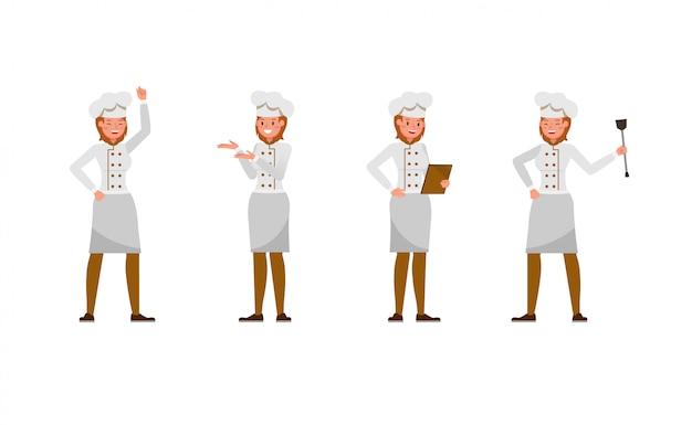 Set di caratteri donna chef Vettore Premium