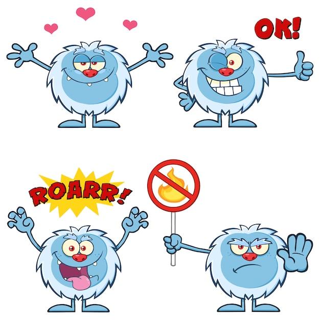 Set di caratteri mascotte simpatico cartone animato yeti Vettore Premium