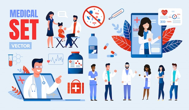 Set di caratteri multinazionali di professionisti del settore medico Vettore Premium