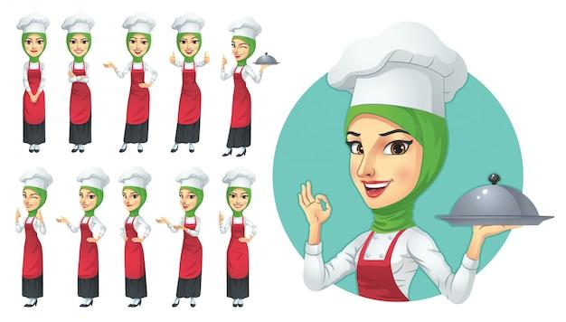 Set di caratteri musulmano chef femminile Vettore Premium