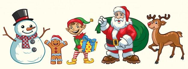 Set di caratteri natalizi Vettore Premium