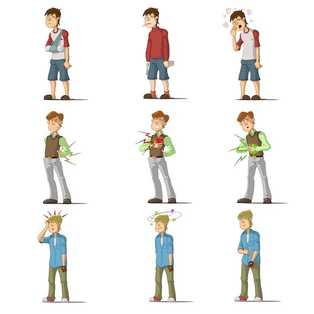 Set di caratteri piatti uomo malattia medica Vettore gratuito