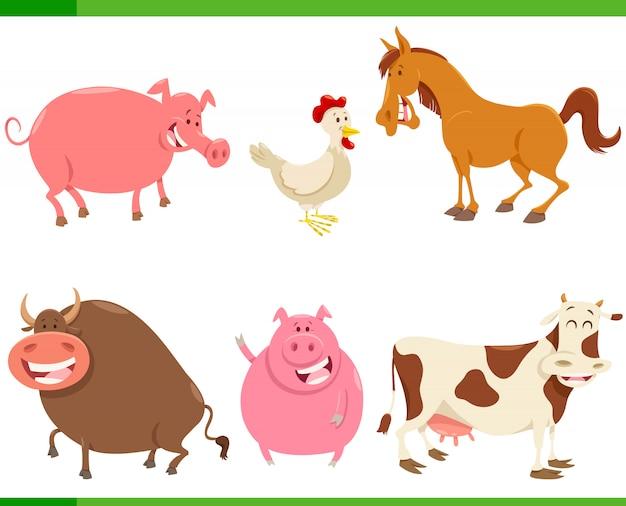 Set di caratteri simpatici animali della fattoria del fumetto Vettore Premium