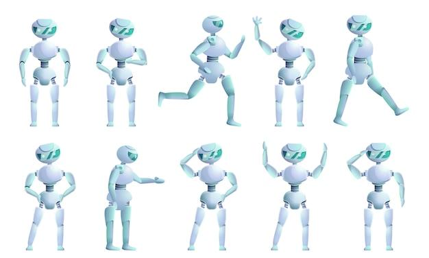 Set di caratteri umanoide, in stile cartone animato Vettore Premium