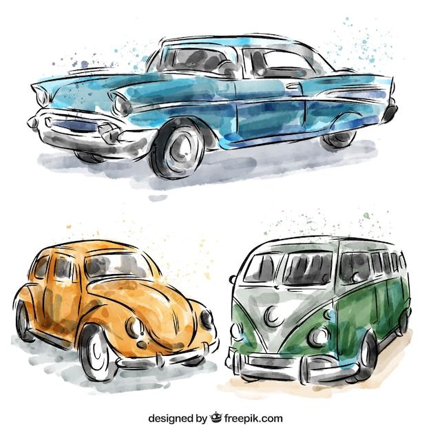Set di caravan e acquerello auto d'epoca Vettore gratuito
