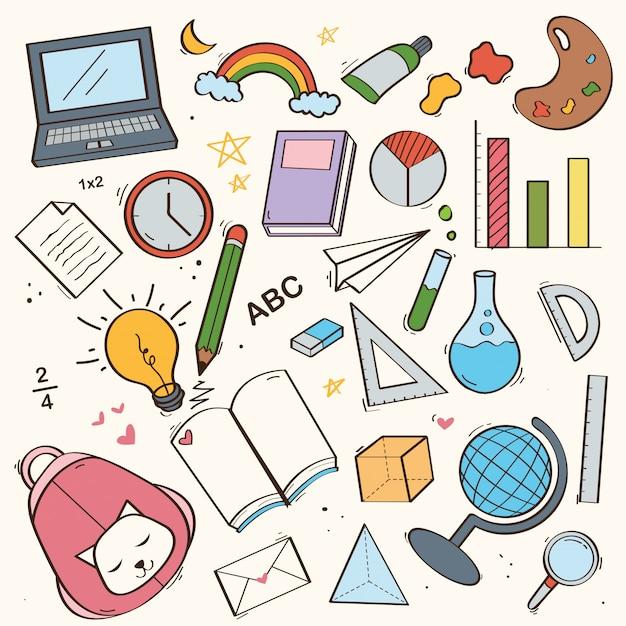 Set di carino torna a scuola doodle Vettore Premium