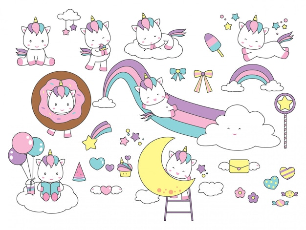 Set di carino unicorn fantasy design element Vettore Premium