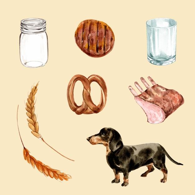 Set di carne alla griglia dell'acquerello, cane, illustrazione di orzo Vettore gratuito