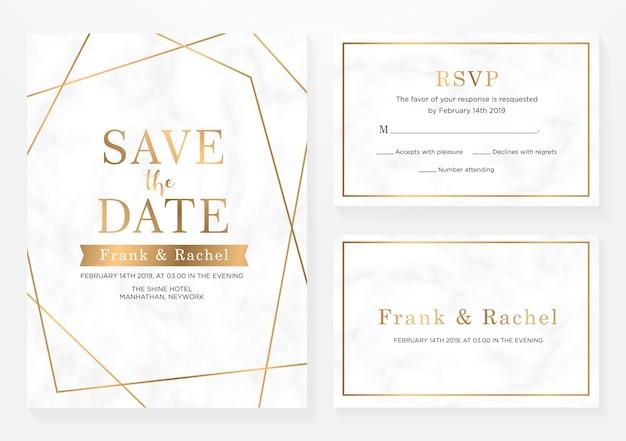 Set di carta di invito a nozze Vettore Premium