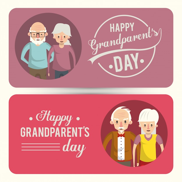 Set di carta felice giorno dei nonni con cartoni animati Vettore Premium