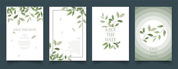 Set di carte acquerello foglie verdi. Vettore Premium