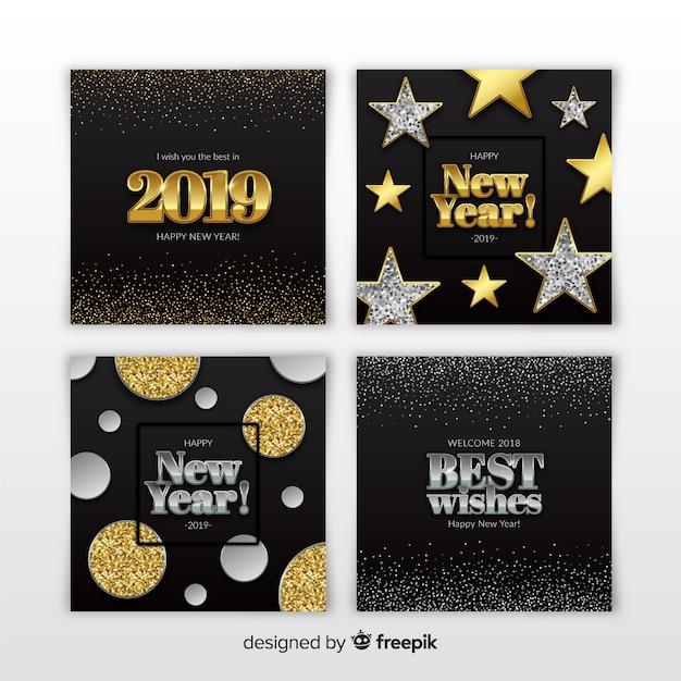 Set di carte argento e oro nuovo anno 2019 Vettore gratuito