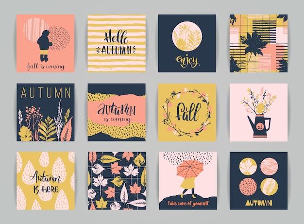 Set di carte autunnali. Vettore Premium