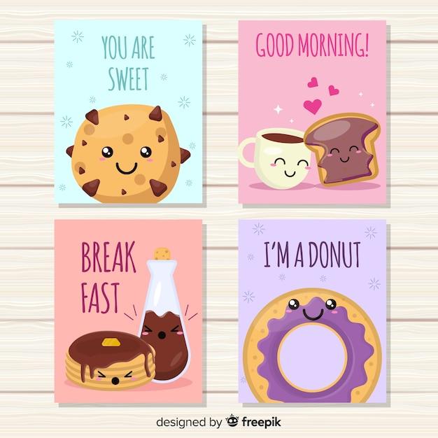 Set di carte carino cibo dolce Vettore gratuito