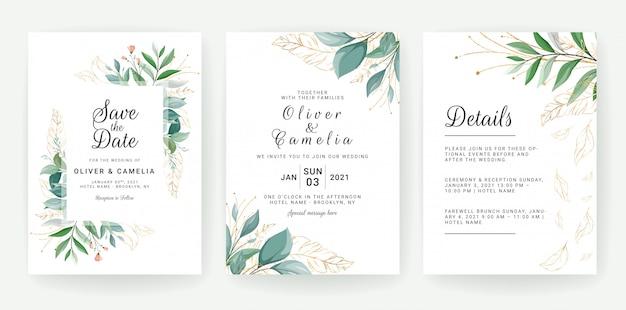 Set di carte con decorazioni floreali. progettazione del modello dell'invito di nozze della pianta delle foglie tropicali e di scintillio Vettore Premium