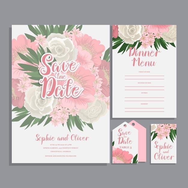 Set di carte con fiore rosa Vettore gratuito
