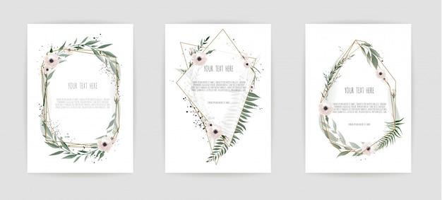 Set di carte con foglie e cornice geometrica. Vettore Premium