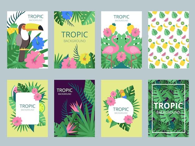 Set di carte con piante esotiche, frutta e animali Vettore Premium