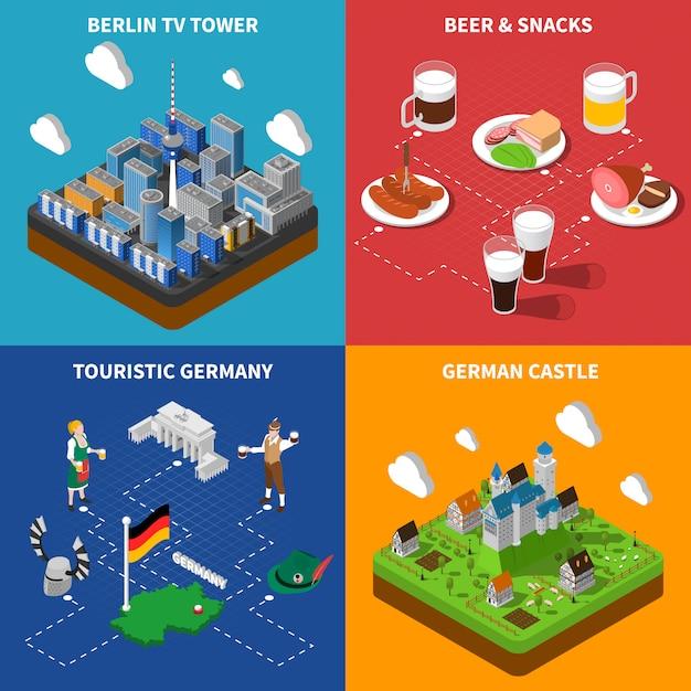 Set di carte cultura tedesca Vettore gratuito