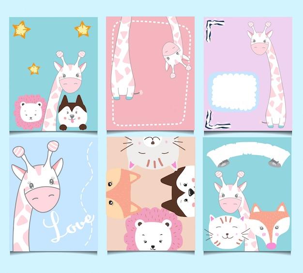 Set di carte di compleanno carino. Vettore Premium