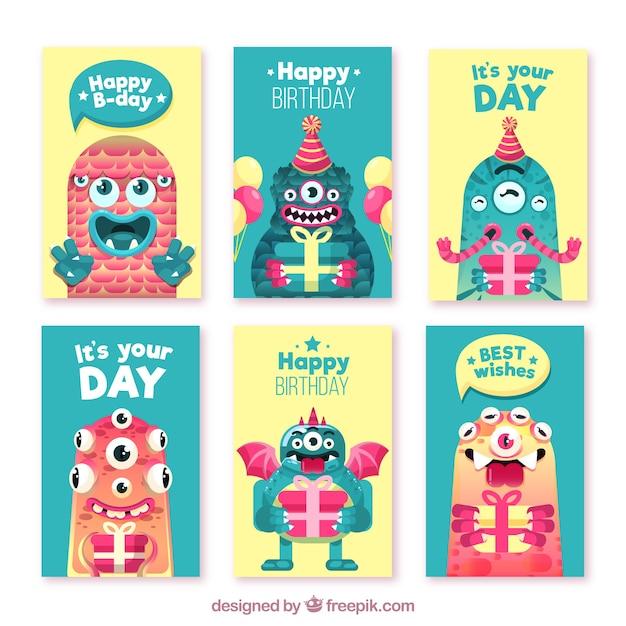 Set di carte di compleanno con mostri divertenti Vettore gratuito