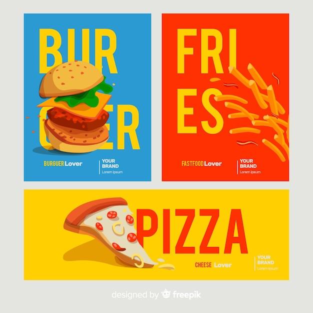 Set di carte di fast food disegnato a mano Vettore gratuito