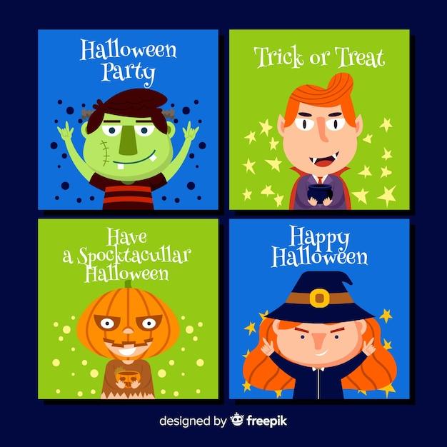 Set di carte di halloween Vettore gratuito