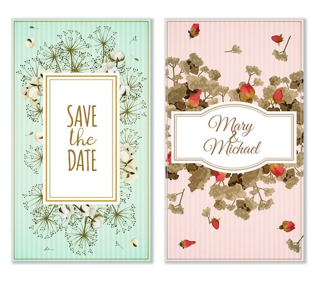 Set di carte di invito con decorazione di fiori secchi Vettore gratuito