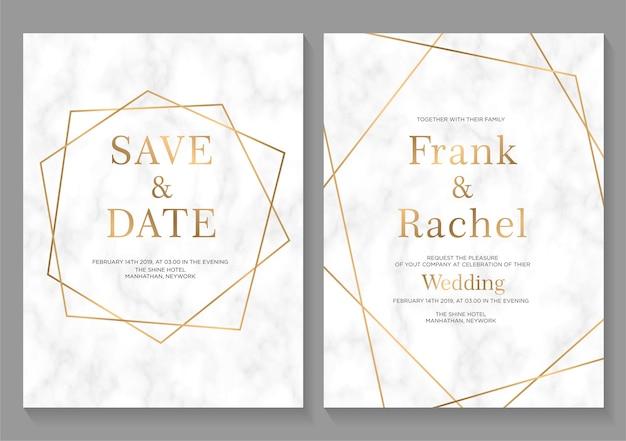 Set di carte di invito di nozze Vettore Premium