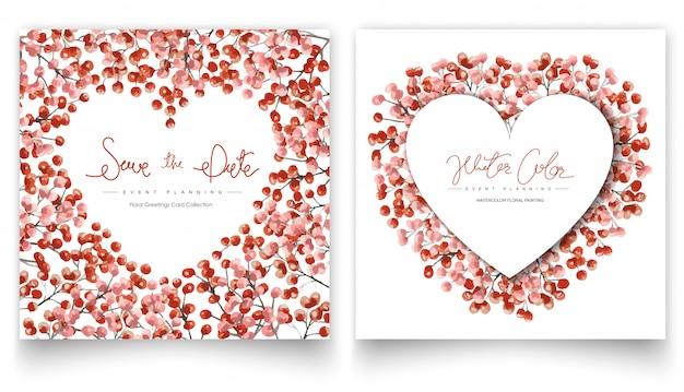 Set di carte di pittura ad acquerello floreale rosso. Vettore Premium