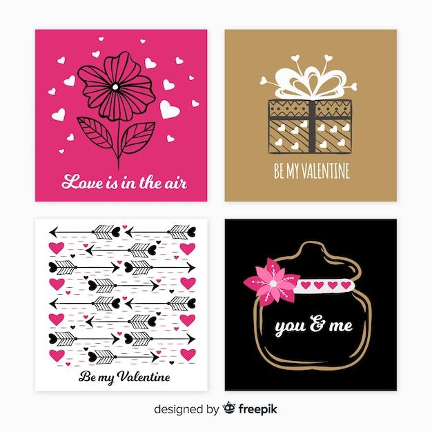 Set di carte di san valentino Vettore gratuito