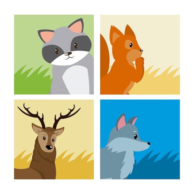Set di carte di simpatici animali Vettore Premium