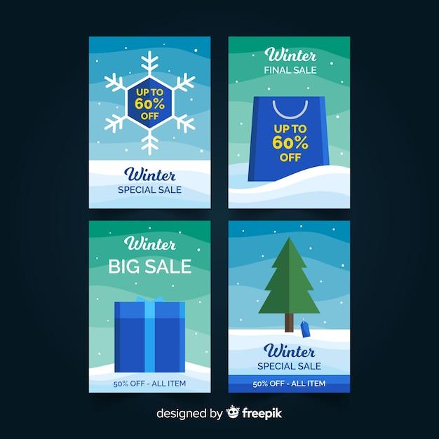 Set di carte di vendita invernale Vettore gratuito