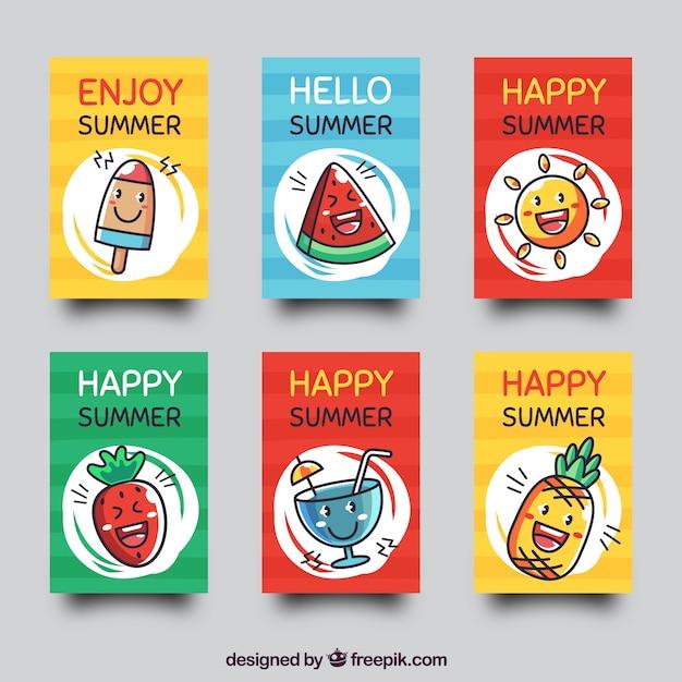 Set di carte estive con cibo simpatico cartone animato