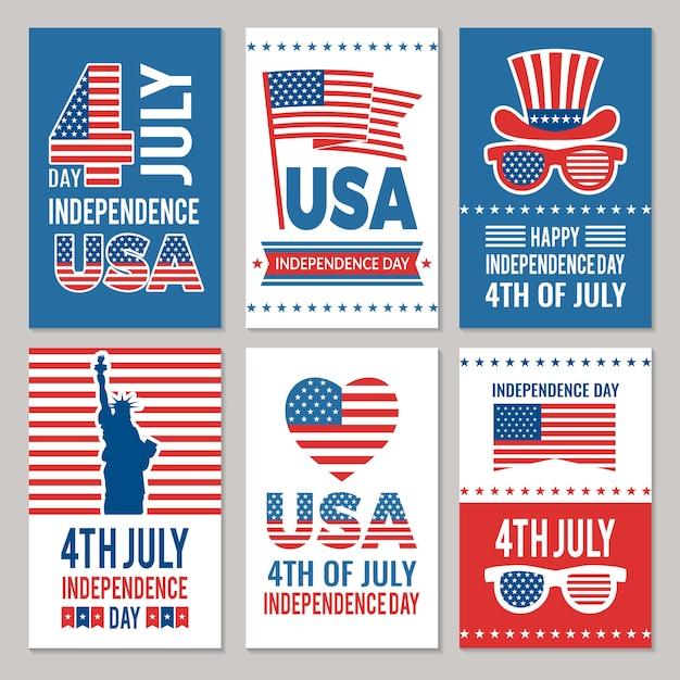 Set di carte festa dell'indipendenza degli stati uniti Vettore Premium