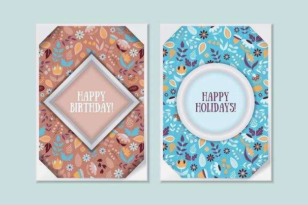 Set di carte floreali carino doodle vintage. saluto di festa Vettore Premium