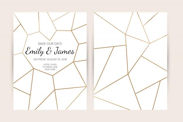 Set di carte invito a nozze. Vettore Premium