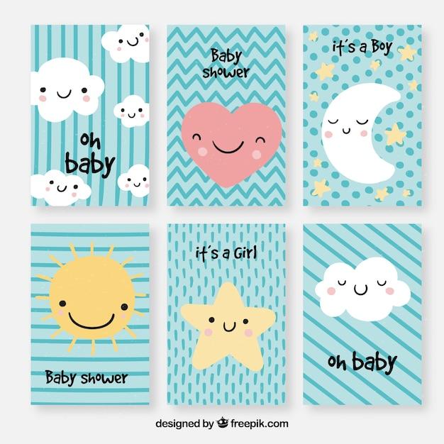Set di carte per bambini con cartoni animati carini Vettore gratuito
