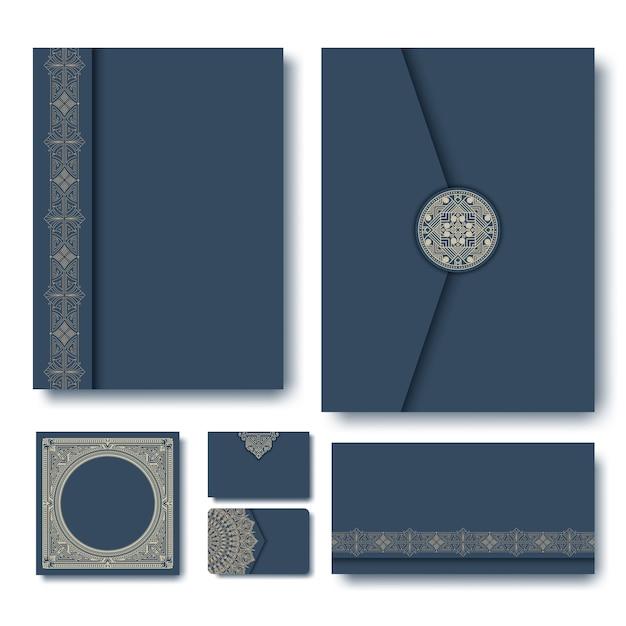 Set di cartelle con cornici geometriche vintage Vettore gratuito