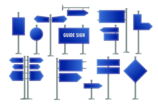 Set di cartelli stradali blu Vettore gratuito