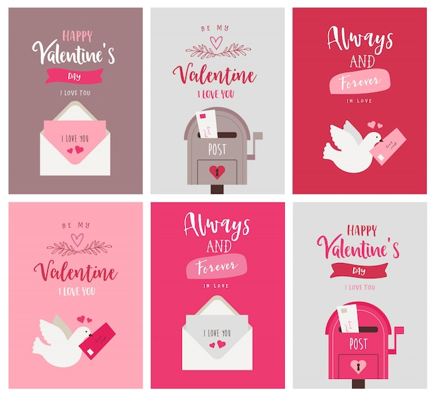 Set di cartoline d'auguri di san valentino Vettore Premium