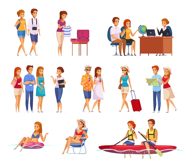 Set di cartone animato agenzia di viaggi Vettore gratuito