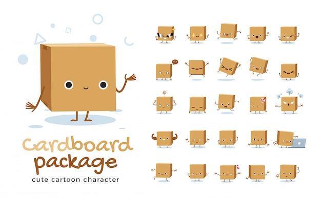 Set di cartone animato di scatola di cartone. illustrazione. Vettore Premium
